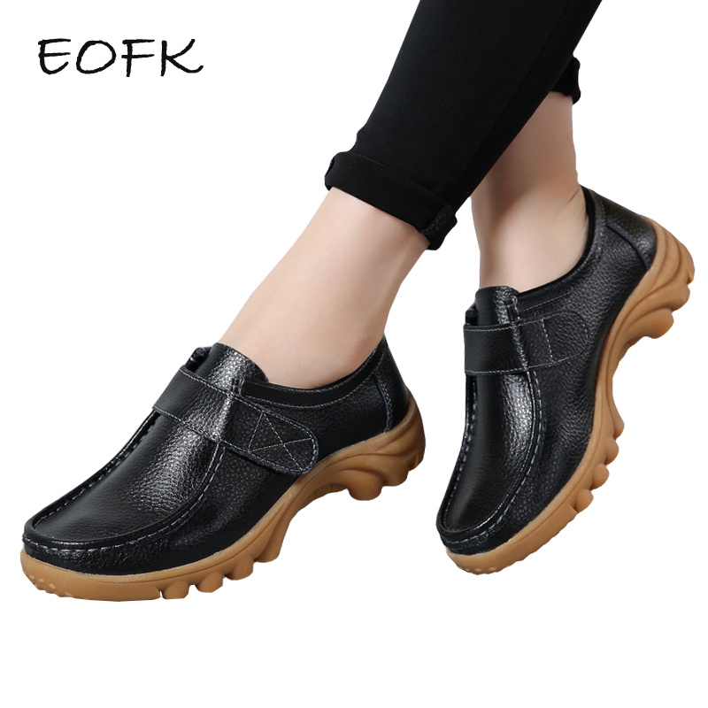 EOFK 2018 Spring Women loafers Slip On Flats Shoes Woman Paste Thick bottom Leather loafer Shoes bering bering 11233 202