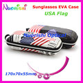 10pcs USA Flag Painting Eyeglass Glasses Sunglass Eyewear Zipper 2 Colors EVA Hard Case Box ML030 Free Shipping