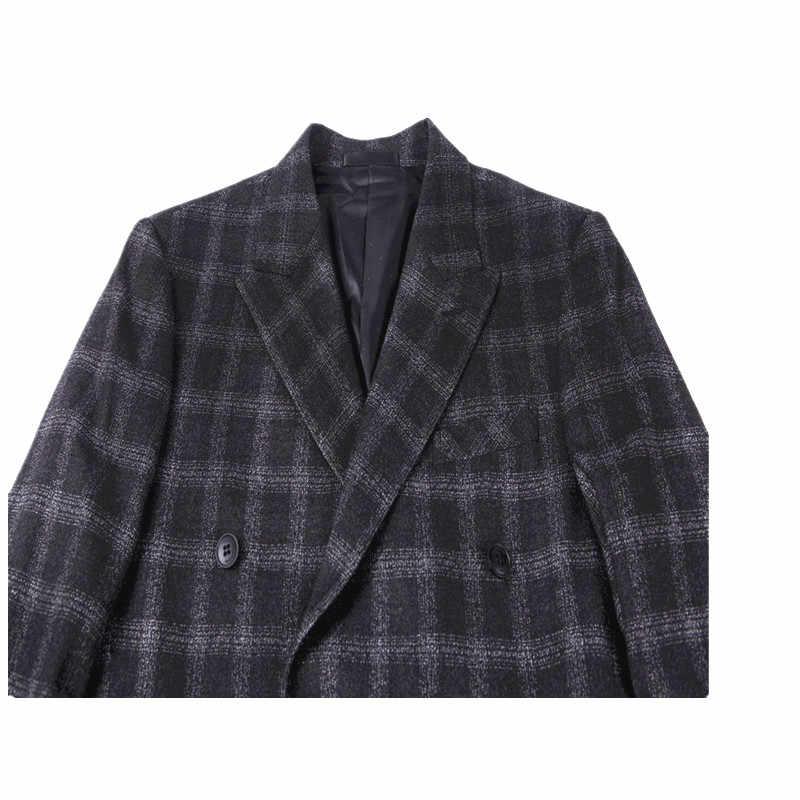YUNCLOS 2019 新着メンズスーツウールのダブルブレストスーツ 3 個黒のチェック柄の結婚式のスーツ男性のレトロスタイルドレス