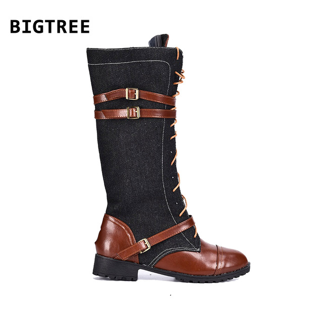 cb8d6664d81 US $52.9 |Woman Winter Fashion Lace Up Punk Martin Boot With A Denim Belt  Buckle-in Mid-Calf Boots from Shoes on Aliexpress.com | Alibaba Group