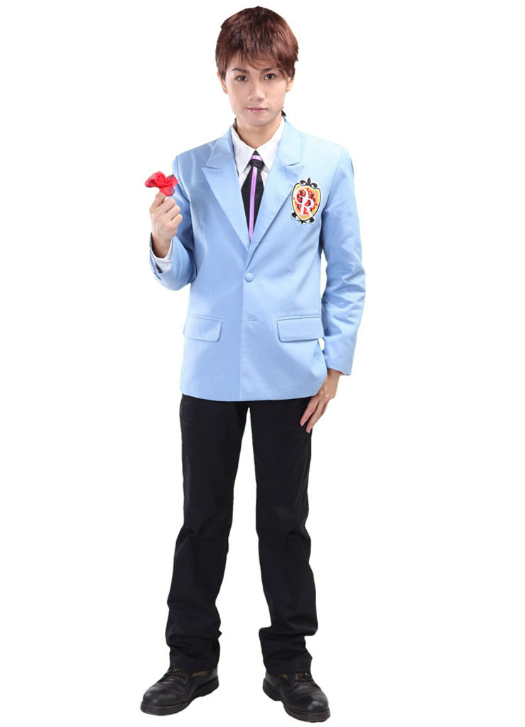 Free Shipping Ouran High School Host Club Boys School Uniform Blue Suits Anime Cosplay Costume