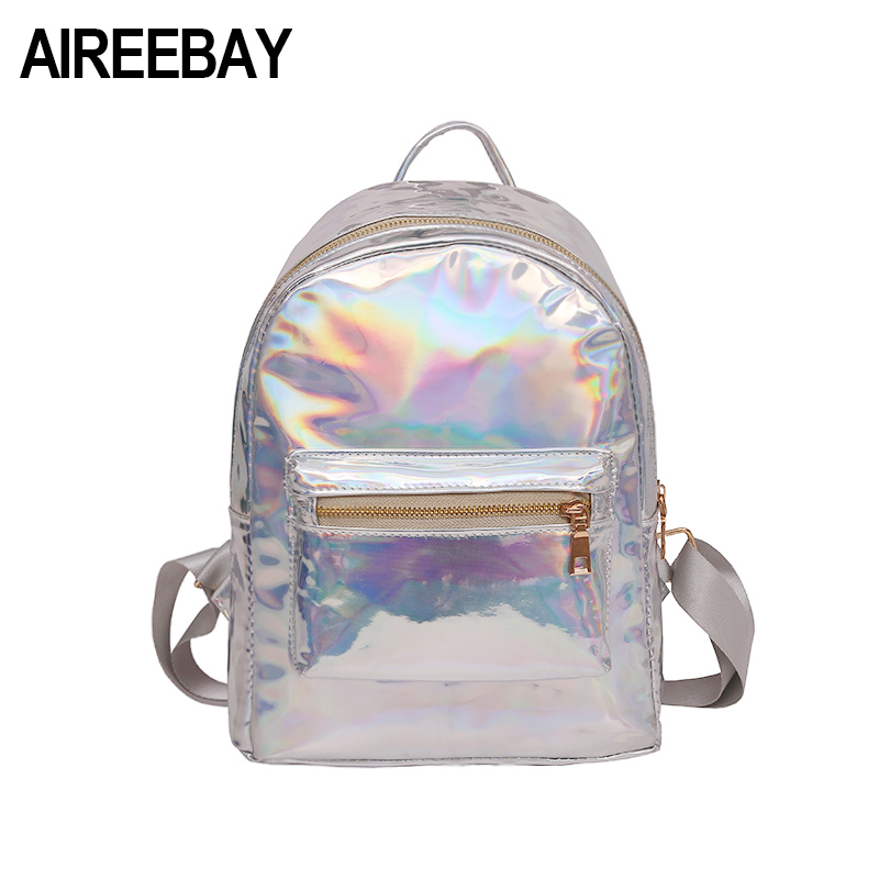 AIREEBAY Small hologram backpack Female Mini Holographic Backpacks for teenage girls Silver Laser Bag PU Leather School Bags цена