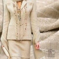 Window queen * weaving little fragrant weaving fabric fine line grain suit skirt fabric Tweed Gold wool wind