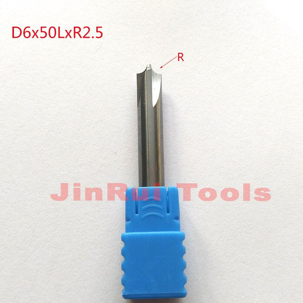 1pc  D6*50L*R2.5 HRC50 4 Flutes corner rounding cutters  Chamfer route bits for Aluminum knife tools велосипед wheeler route 1 6 2012