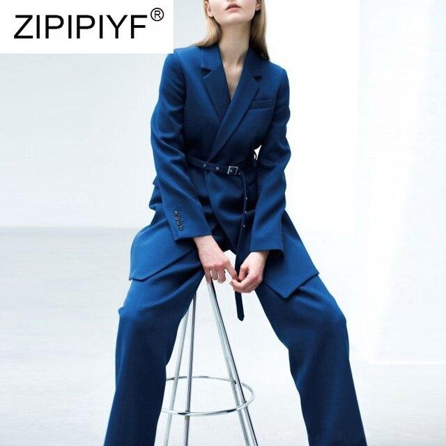 Women's Sets Long Sleeve Adjusted Waist Turn-down Collar Blazer + Fluu-Length Wide Pants 2018 Autumn Winter Fashion Suit Q014