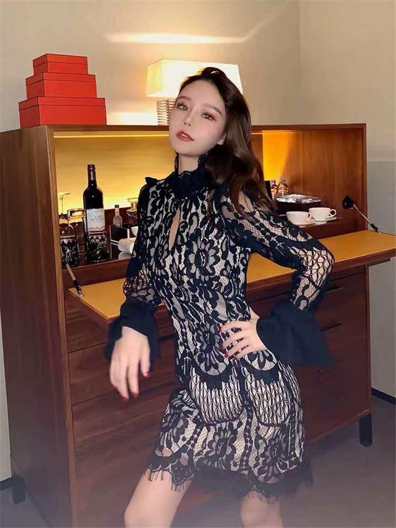 Primavera Lunga Sexy white Manica Office Vestito Mini Ruffle Modo Rayon Black Collo Lady Di Nuovo Elegante Hip 2019 Alto Fasciatura Nero Pizzo Dress qBfZFtx8