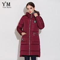 YuooMuoo New 2017 Cao Chất Lượng Winter Coat Phụ Nữ Casual Warm Trùm Đầu Trung Bình dài Áo Khoác Mùa Đông Parkas Windproof Ladies Coat bán