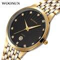 WOONUN Men's Watch Famous Brand Luxury Gold Watch Men Full Steel Quartz Fake Diamond Watches For Men Business Relogio Masculino