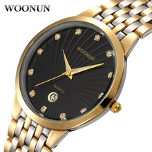 WOONUN Top Brand Luxury Gold Stainless Steel Rhinstone Diamond Quartz Watches Men Waterproof Shockproof Ultra Thin Mens Watches