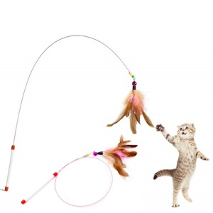 Funny Feather Kitten Cat Toy Steel Wire Feather Teaser Bell Bead Play Pet Wand Teasing Cat Sticks Interactive(China)