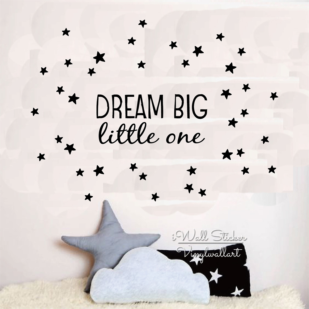 Dream Big Little One Quote Wall Sticker Kids Wall Quotes Decals Children Room Wall Decal DIY Removable Wall Decor Cut Vinyl Q222
