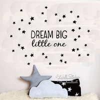 Dream Big Little One Quote Wall Sticker Kids Wall Quotes Decals Children Room Wall Decal DIY