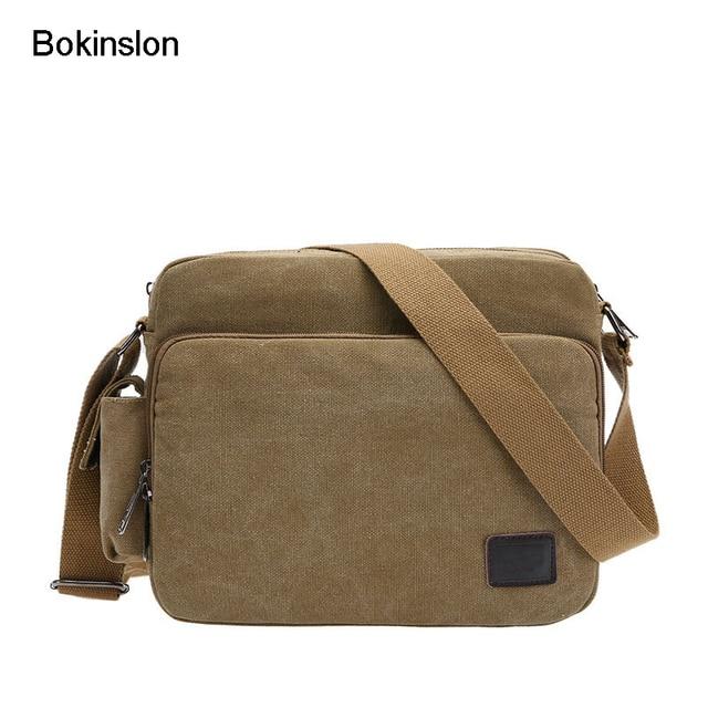 7330a2ab2787 Bokinslon Shoulder Bags Men Retro Canvas Male Crossbody Bag Casual  Multifunction Solid Color Practical Man Bags