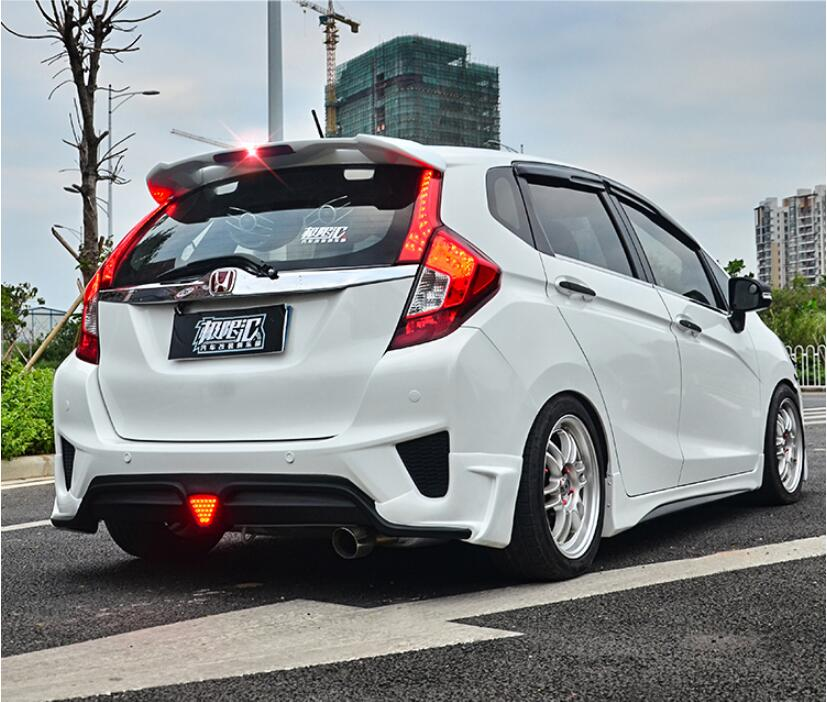 ABS PAINT CAR REAR WING TRUNK LIP SPOILER FOR 14 18 HONDA FIT / JAZZ MK5 2014 2015 2016 2017 2018 BY EMS (With LAMP)