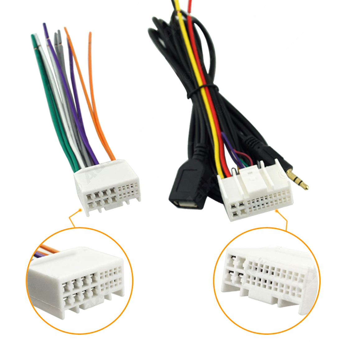 Marsnaska 2016 Car Audio CD Stereo Wiring Harness Adapter With USB/AUX Plug  For Kia
