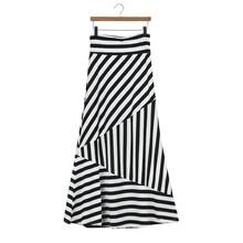 Женская Асимметричная длинная юбка макси в полоску с высокой талией, белая, 3,27