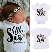 2019 Toddler Newborn Baby Outfit Matching Cotton Clothes Big Sister T-shirt Top or Little Letter Romper Jumpsuit Summer