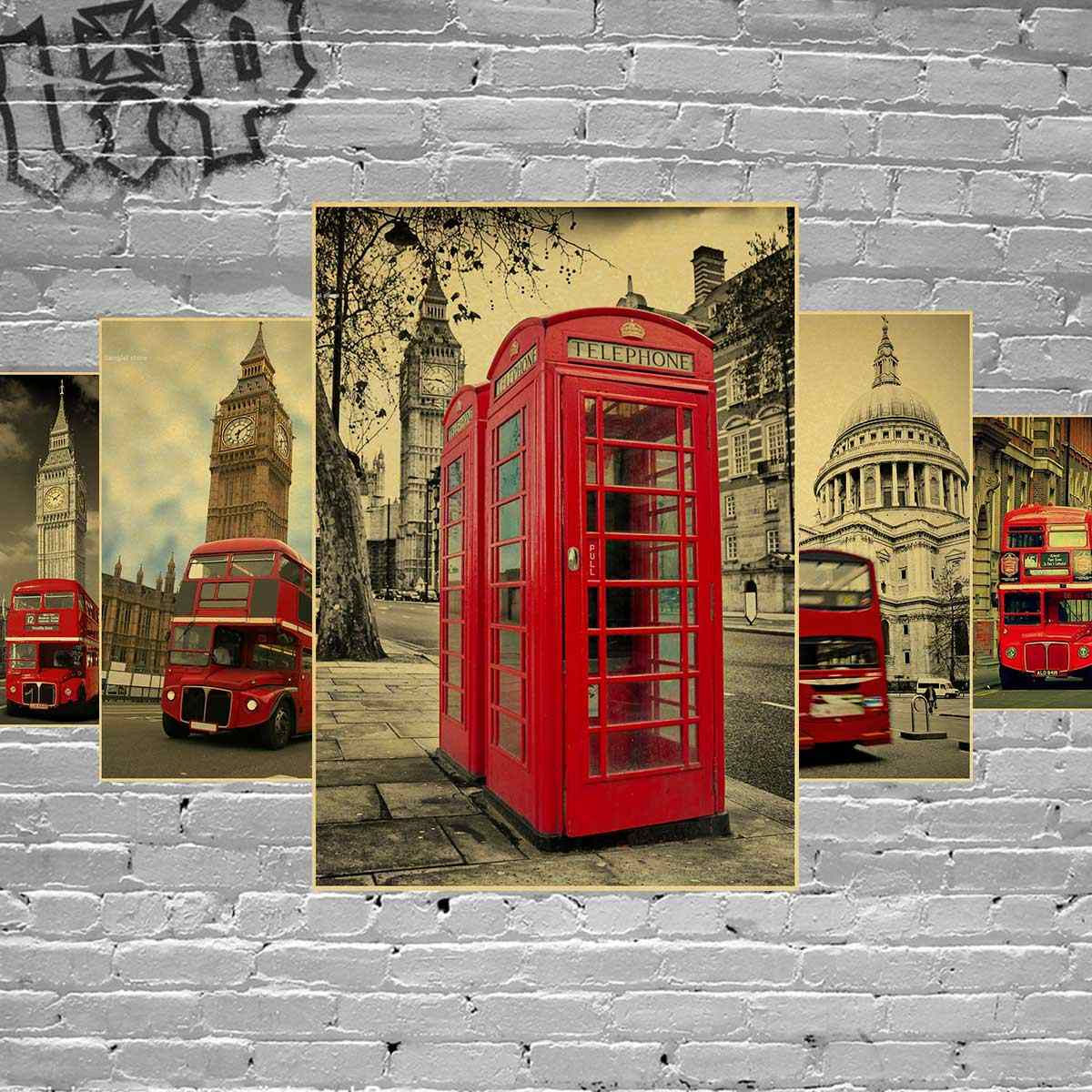Vintage london red bus Poster Retro Landscape Bus Booth Big Ben Poster art Wall home Decoration