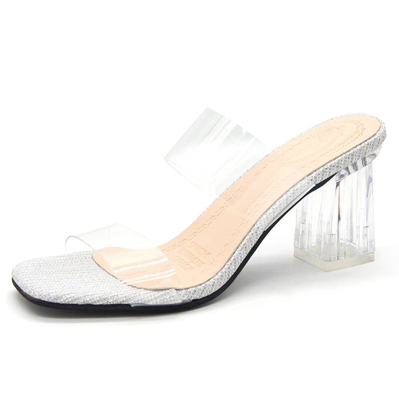 Fashion Transparent Ladies Slippers Female Square High Heels Slip On Casual Sandals Women Shoes Woman Casual Shoes Party SandalsFashion Transparent Ladies Slippers Female Square High Heels Slip On Casual Sandals Women Shoes Woman Casual Shoes Party Sandals