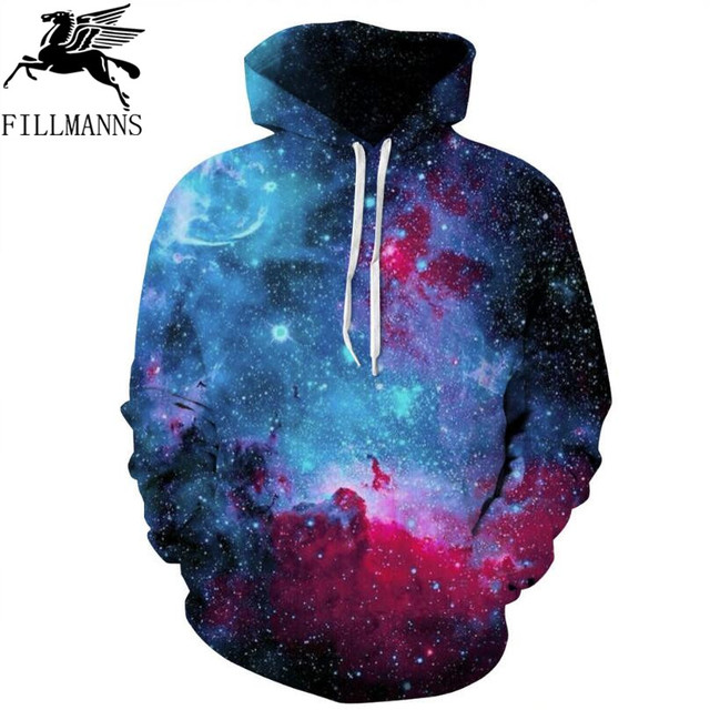 FILLMANNS Space Galaxy Hoodies Hooded Men/Women Hat 3d Sweatshirts Print Colorful Nebula Thin 2018 Spring Sweatshirts