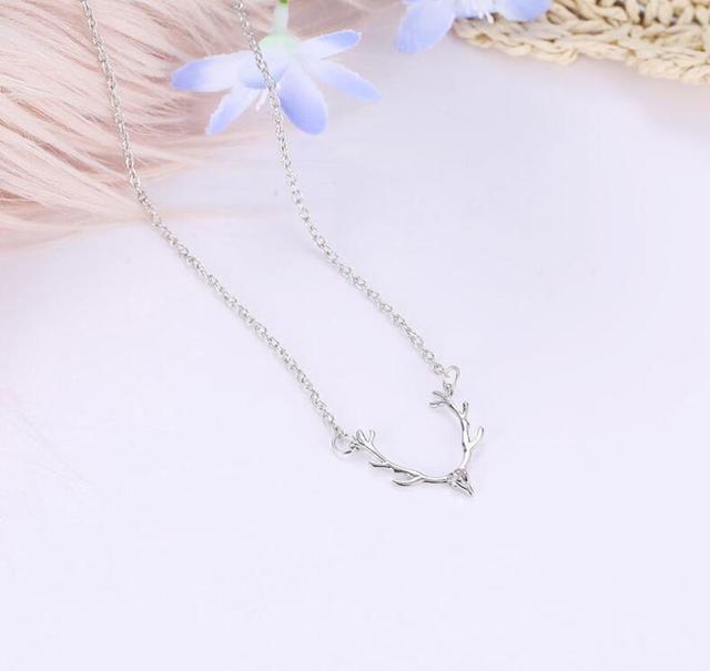 модное ожерелье с подвеской в виде рогов на длинной цепочке фотография