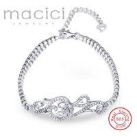 925-стерлингового серебра-звено цепи браслет полный CZ установка толщиной 925 Серебряный браслет для женщин BDL56