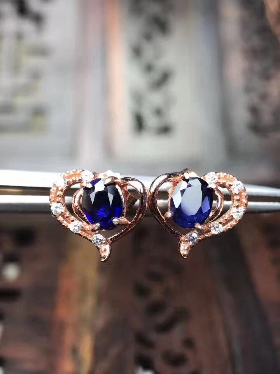 Sapphire stud oorbel Voor mannen of vrouwen Natuurlijke echte saffier 925 sterling zilver 4*5mm 2 stks edelsteen - 4