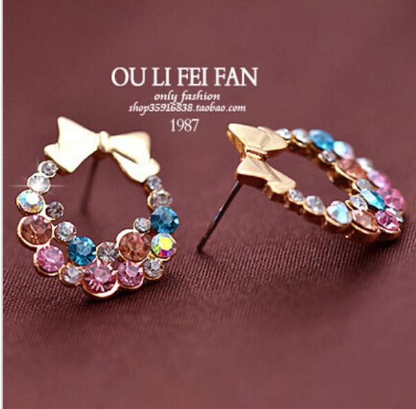 Women Imitation Colorful Rhinestone Bowknot Stud Earrings Gold Crystal Cubic Zirconia Bow Earring Female Fashion Vintage Jewelry
