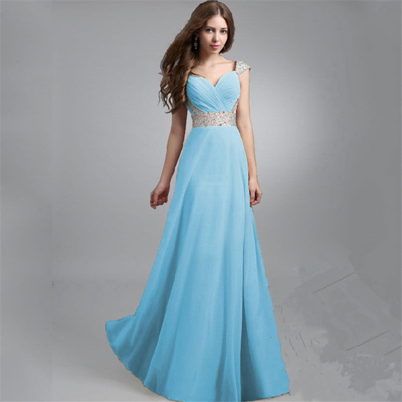 Wedding Sexy Dress New Fashion Red Blue Pink Bridesmaid Chiffon Beads Piece Together Dress Shoulder Party Dress Q0332