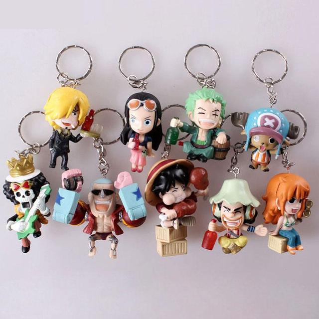 9pcs/set Anime One Piece Figure Keychain Assembly Leisure Life Pirates Group Full Set Model Toy