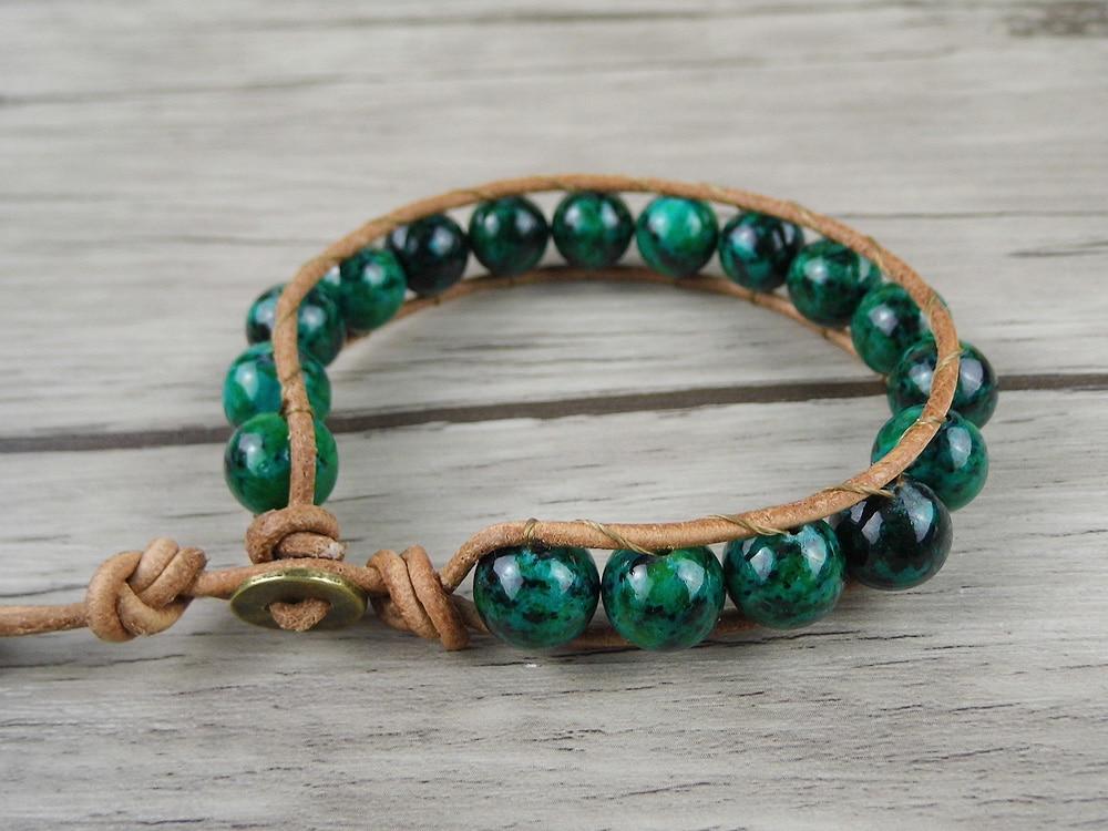 Leather Wrap Beads Bracelet Boho Chrysocolla Beads Bracelet Single Beaded Bracelet Bohemian Wrap Yoga Jewelry Dropshipping