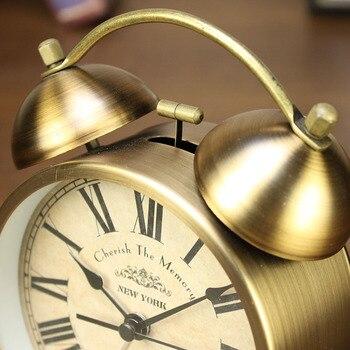 Reloj De Mesa Vintage | Luz De Noche Caliente Metal Vintage Despertador Dormitorio Retro Reloj De Mesa Mesita De Noche Escritorio Cuarzo Reloj De Escritorio Movimiento Mecánico Regalo