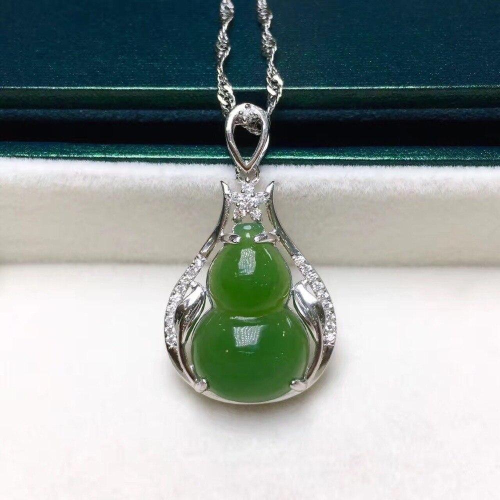 S925 silver inlay and Tian Bi yu gourd pendant/S925 silver inlay and Tian Bi yu gourd pendant/