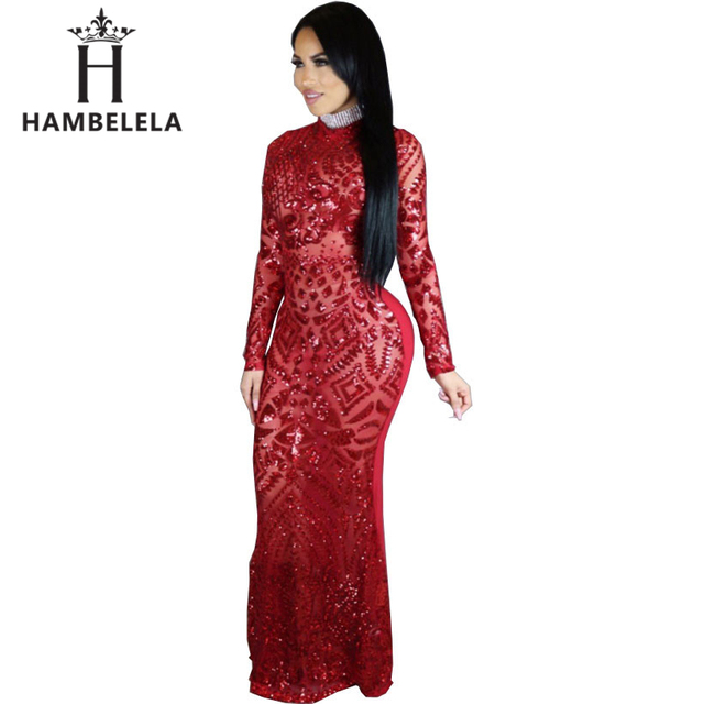 HAMBELELA 2018 Sexy Turtleneck Long Sleeve Sequined Party Dress Floor  Length Full Sleeved Bodycon Black Maxi Dress Evening Gown 7a69f186d85f