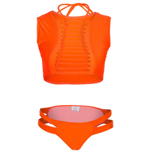 Two Piece Hollow Out O-Neck Swimsuits