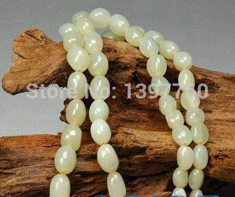 Miss charme Jew.46 Naturel Hetian Néphrite Jade Rivière Pebble Perles Collier