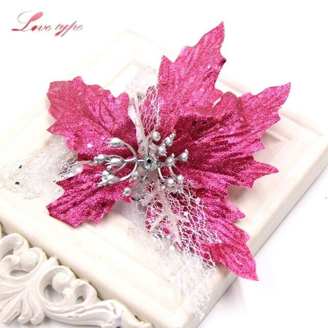 3 unidslote flores artificiales brillo Navidad flores DIY Navidad