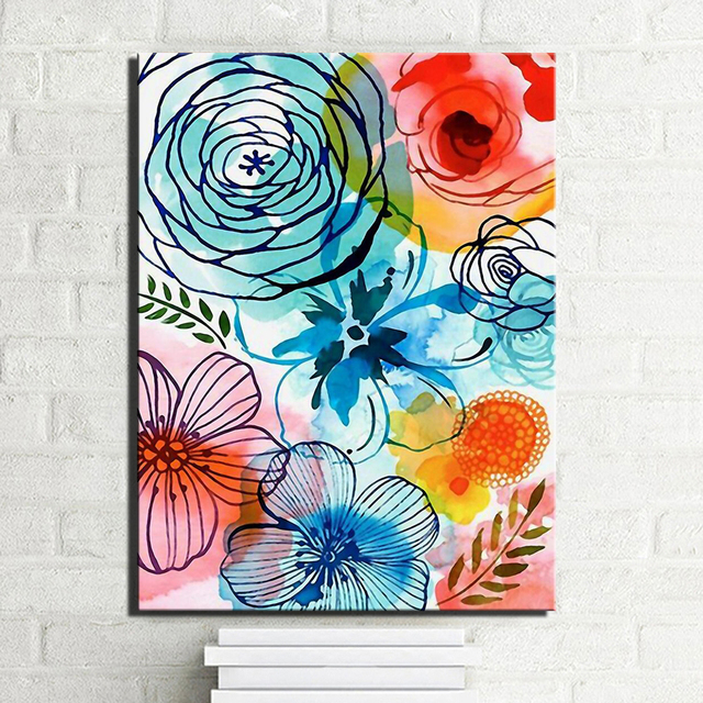Abstract watercolor flowers canvas prints on canvas large colorful modern home decor flowers pictures for kids
