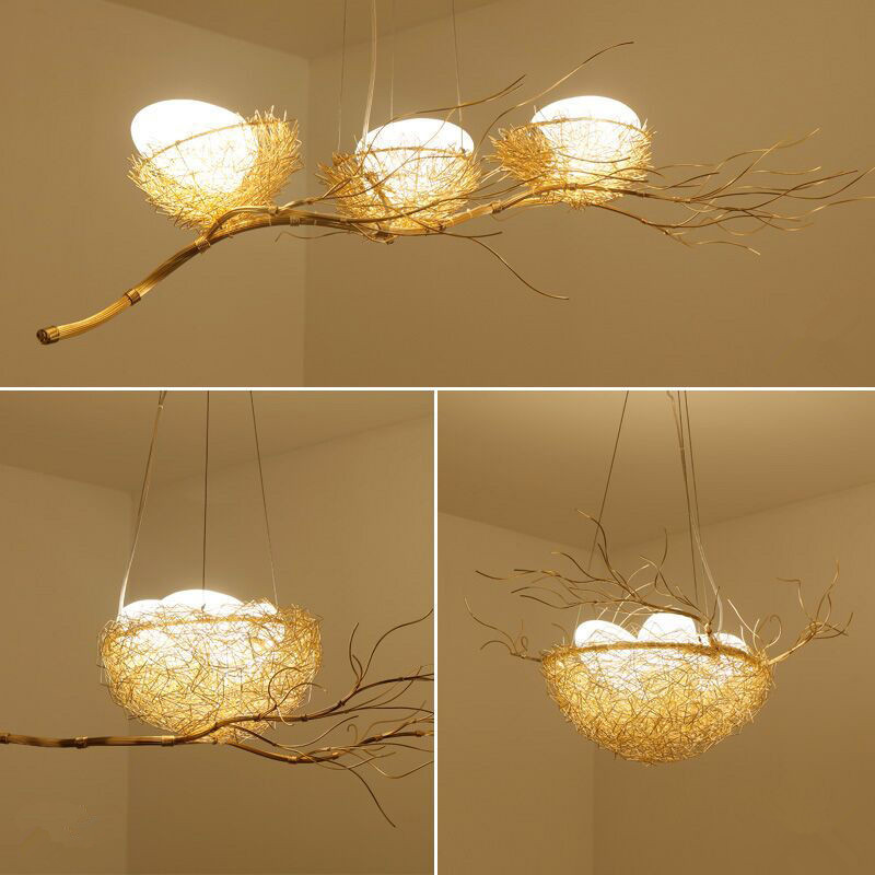 Post Modern Handwork Gold Aluminium Steel Bird Nest Pendant Light Lamp Nordic Silver Alu. Wire White Glass Egg Suspension Light