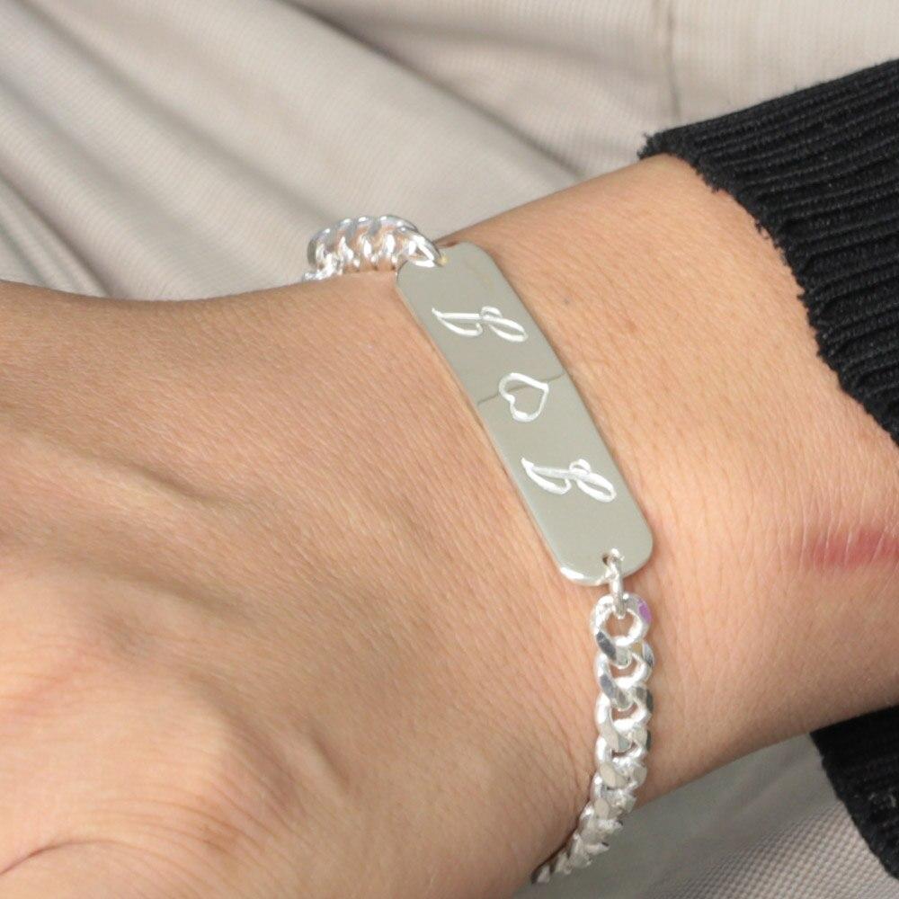 925 Argent massif Gravé Barre Bracelet Hommes Bracelet avec Chaîne de Bordure Épaisse, personnalisé Couple Amoureux Bar Bracelet Cadeau Unique