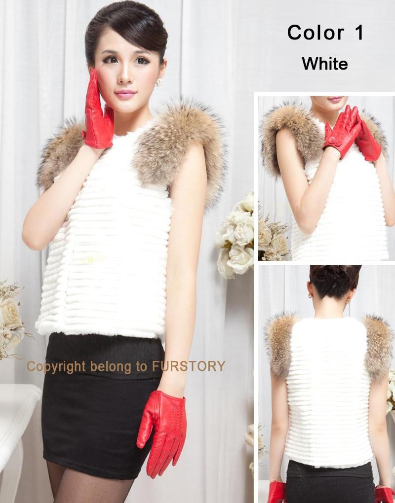 Fur Story 020158B жилет из натурального кроличьего меха, украшение из меха енота, пальто, куртка, пальто, куртка, 6 цветов