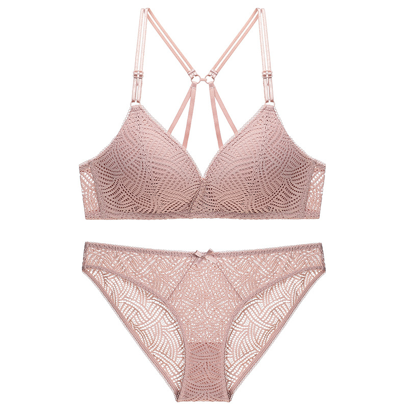 Image 2 - Varsbaby sexy wire free seamless underwear set deep V push up floral lace beauty back bra set for young women-in Bra & Brief Sets from Underwear & Sleepwears