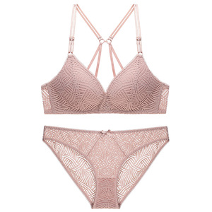 Image 2 - Varsbaby sexy wire free seamless underwear set deep V push up floral lace beauty back bra set for young women