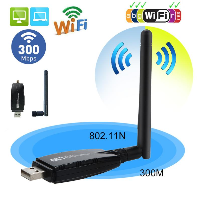 HIPERDEAL 300Mbps Wireless USB WiFi Adapter Dongle Network LAN Card 802.11b/g/n W/ Antenna 18Jul18 Drop Ship F