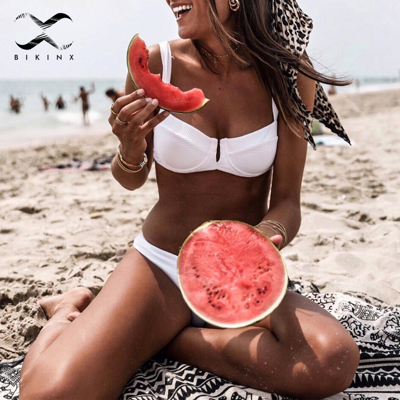 Bikinx Ribbed red bathing suit <font><b>women</b></font> bathers Deep v female swimsuit <font><b>2018</b></font> Push up <font><b>sexy</b></font> <font><b>swimwear</b></font> <font><b>Micro</b></font> bikini set high cut biquini image