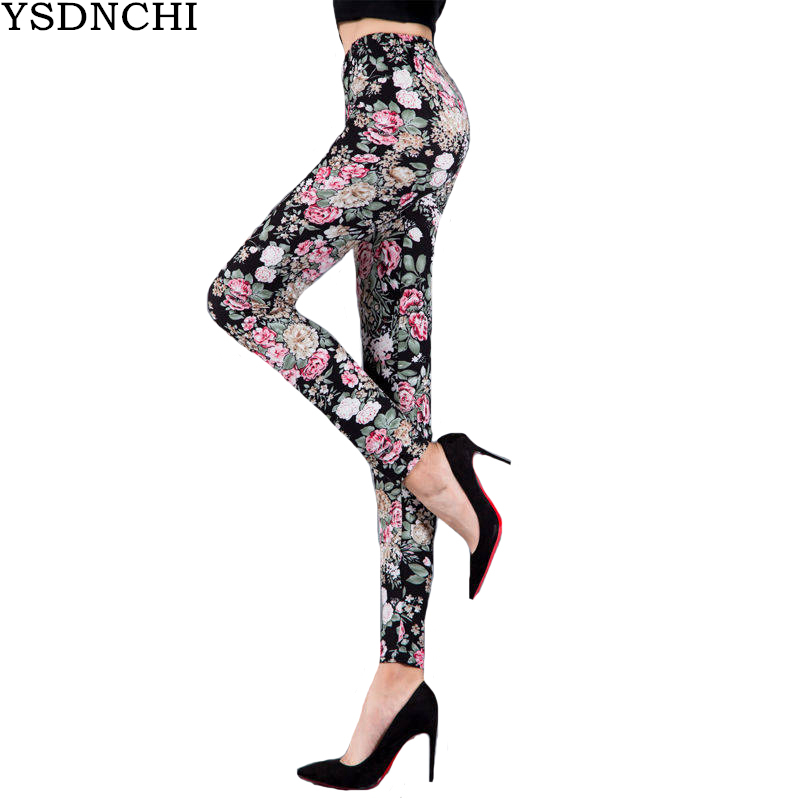 YSDNCHI Women Clothes 2020 Printed Legging Exercise Elastic Leggins Flower High Waist Pants Push Up Legging Leggins Fitness Pant