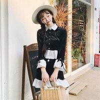 Women Sets 2018 Autumn 2pc Sets Flare Sleeve Mini Tracksuits Female Elegant Sweet Girl Ruffled Hem Cute Two Pieces Shorts Sets