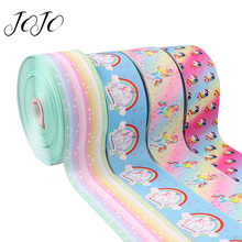 JOJO BOWS 75mm 2y Grosgrain Stain Ribbon For Crafts Unicorn Printed Tape Needlework DIY Hair Bows Gift Wrapping Party Decor