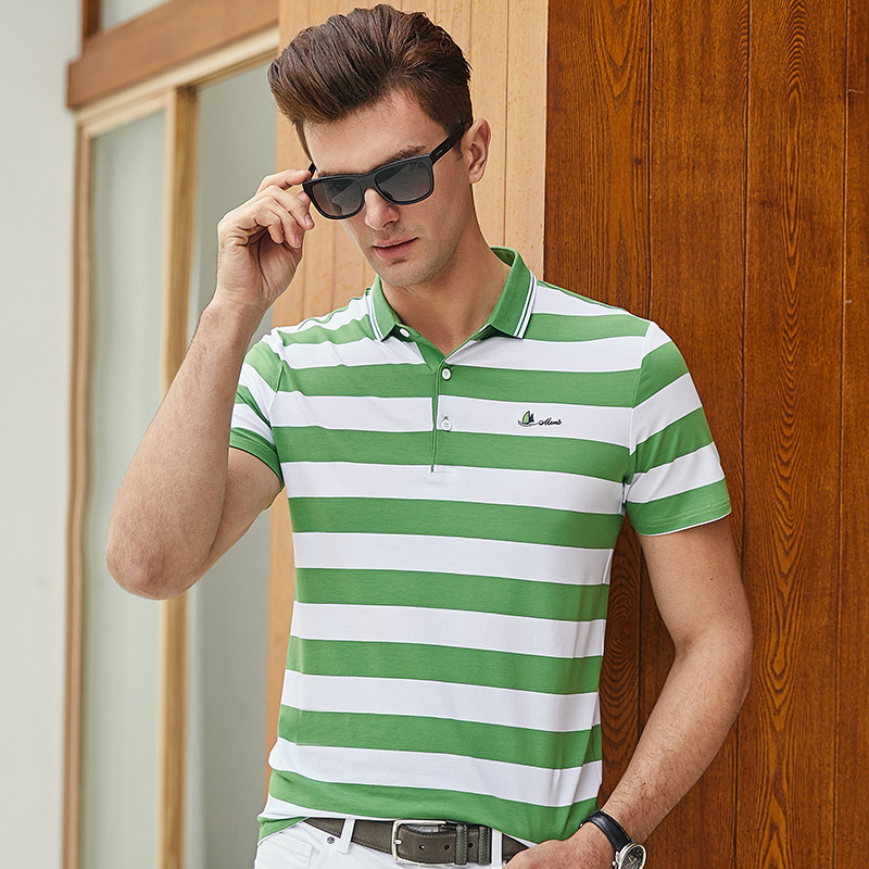 Summer The New   Polo   Shirt Men Brand Short Sleeve Turndown Buttoned Collar Striped Breathable With Short Sleeves Plus Size 9212