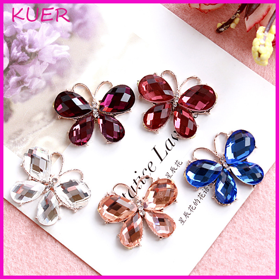 Hair bow button accessories - Diy Hairbow Material Metal Alloy Crystal Gem Pearl Rhinestone Flatback Buttons Wedding Party Dress Craft Sewing Accessories